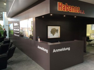 Exhibition of an image on the large booth of Habanos SA.