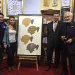 "For the first time shown to the public: The elaborate work ""The History of Cohiba"". Mr. Villiger visited me like last year with his very cute grandchildren and brought his admiration for my special cigar art expression."