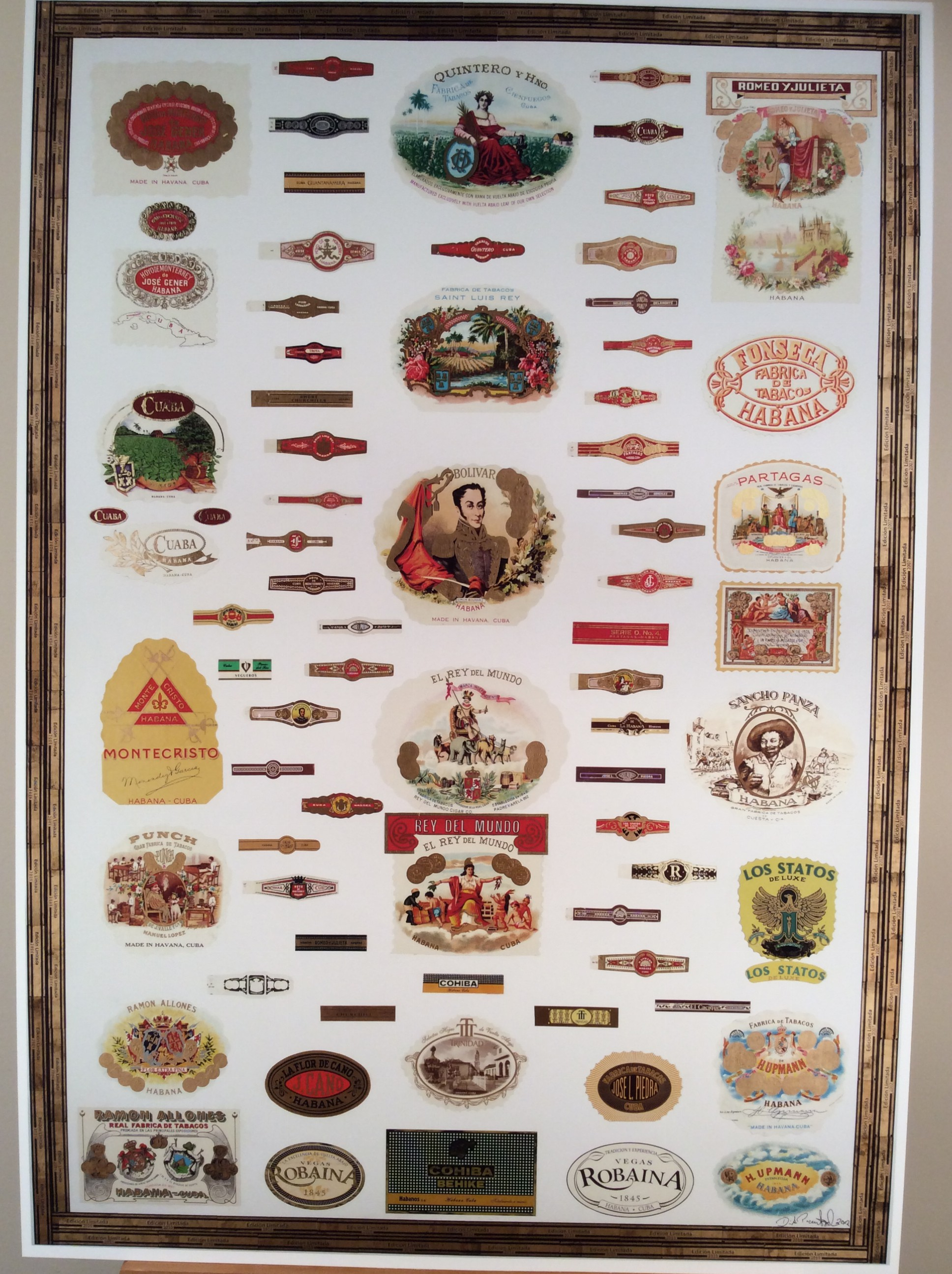 Print of Cuban cigar brands of presence
